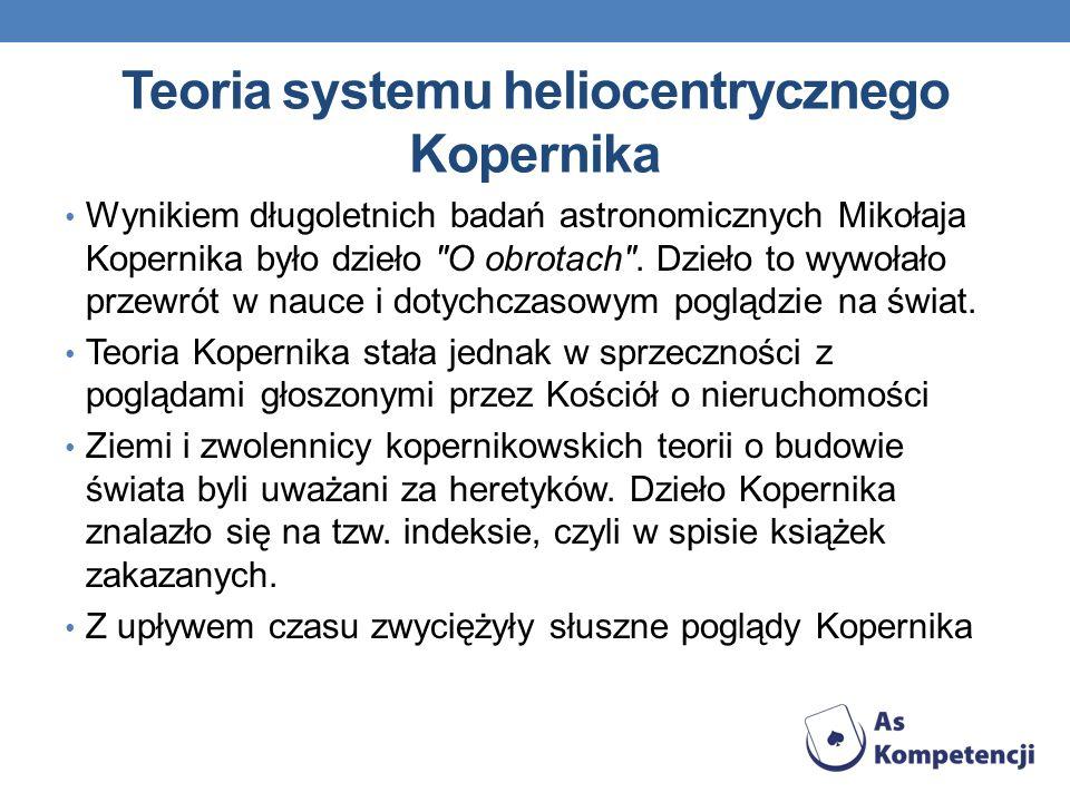 Teoria systemu heliocentrycznego Kopernika Wynikiem długoletnich badań astronomicznych Mikołaja Kopernika było dzieło O obrotach .