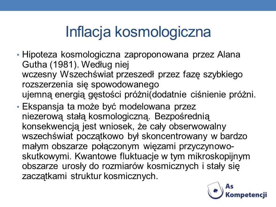 Inflacja kosmologiczna Hipoteza kosmologiczna zaproponowana przez Alana Gutha (1981).
