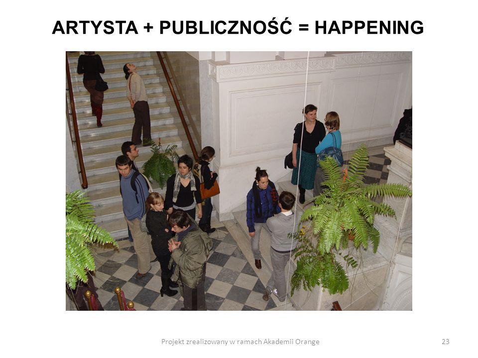 Projekt zrealizowany w ramach Akademii Orange23 ARTYSTA + PUBLICZNOŚĆ = HAPPENING