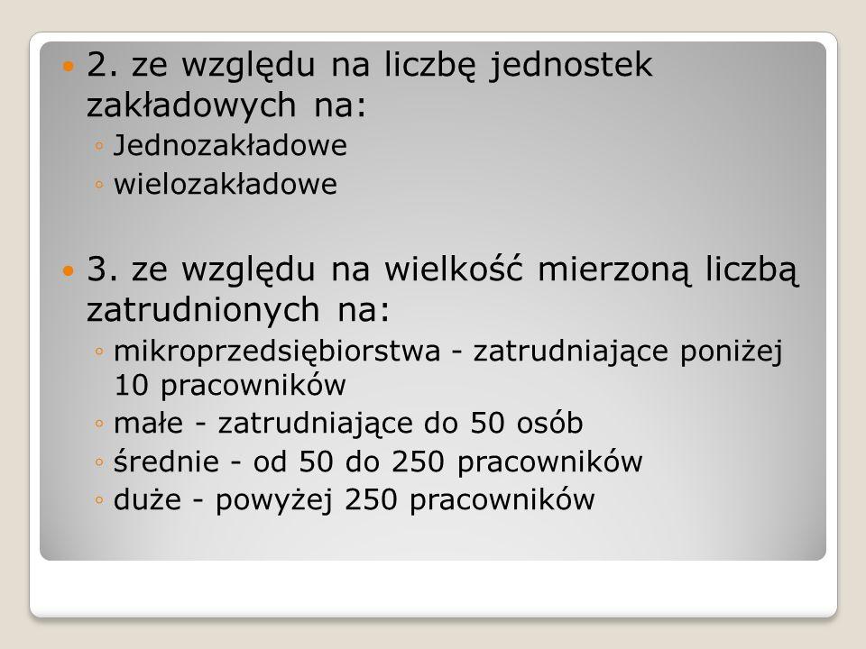 2.ze względu na liczbę jednostek zakładowych na: Jednozakładowe wielozakładowe 3.