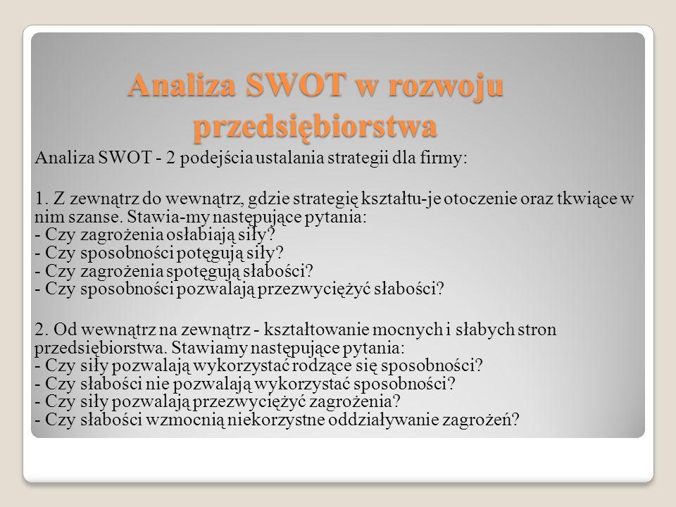 Analiza SWOT w rozwoju przedsiębiorstwa Analiza SWOT - 2 podejścia ustalania strategii dla firmy: 1.