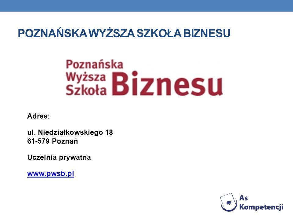 POZNAŃSKA WYŻSZA SZKOŁA BIZNESU Adres: ul.