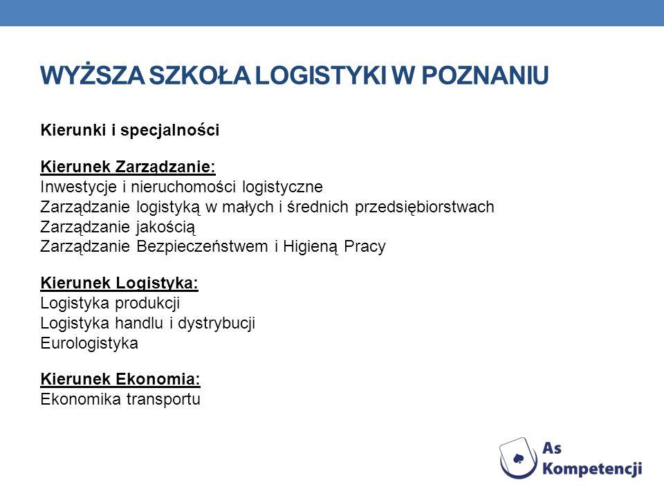 WYŻSZA SZKOŁA LOGISTYKI W POZNANIU Kierunki i specjalności Kierunek Zarządzanie: Inwestycje i nieruchomości logistyczne Zarządzanie logistyką w małych i średnich przedsiębiorstwach Zarządzanie jakością Zarządzanie Bezpieczeństwem i Higieną Pracy Kierunek Logistyka: Logistyka produkcji Logistyka handlu i dystrybucji Eurologistyka Kierunek Ekonomia: Ekonomika transportu
