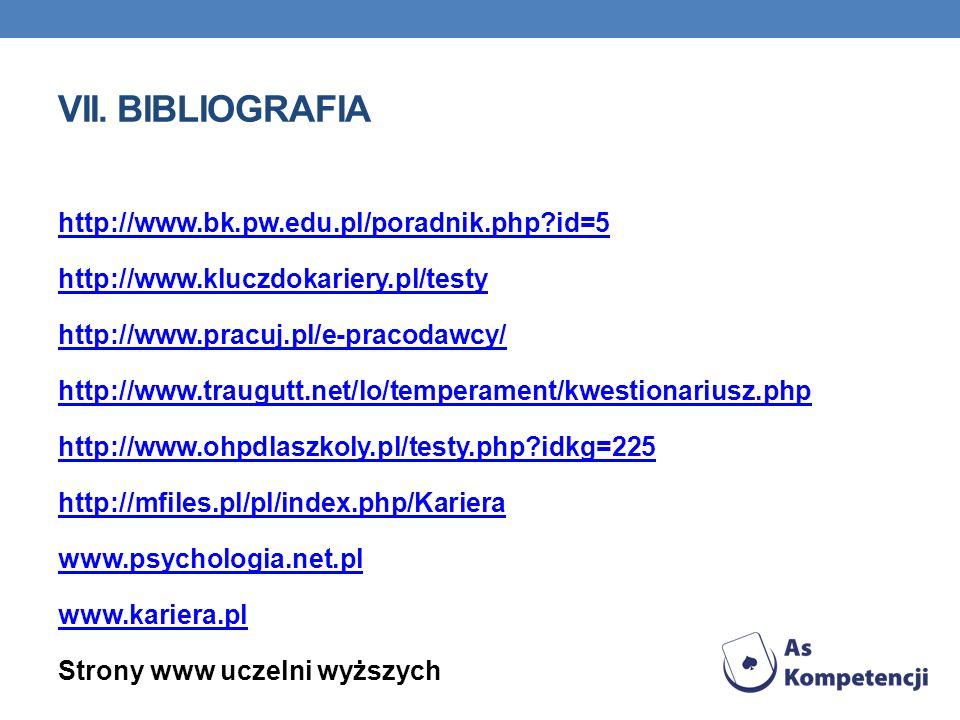 VII. BIBLIOGRAFIA http://www.bk.pw.edu.pl/poradnik.php?id=5 http://www.kluczdokariery.pl/testy http://www.pracuj.pl/e-pracodawcy/ http://www.traugutt.
