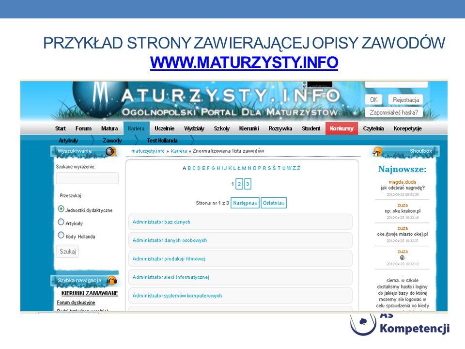 PRZYKŁAD STRONY ZAWIERAJĄCEJ OPISY ZAWODÓW WWW.MATURZYSTY.INFO WWW.MATURZYSTY.INFO