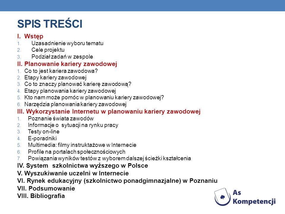 SPIS TREŚCI I.Wstęp 1. Uzasadnienie wyboru tematu 2.