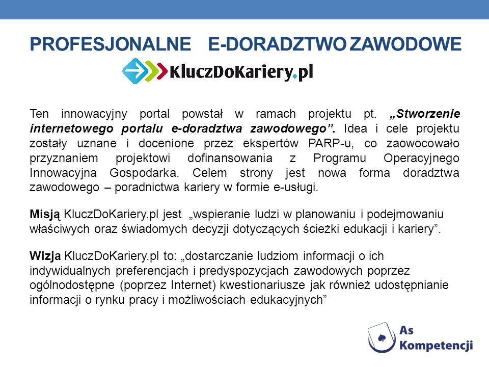 PROFESJONALNE E-DORADZTWO ZAWODOWE Ten innowacyjny portal powstał w ramach projektu pt.