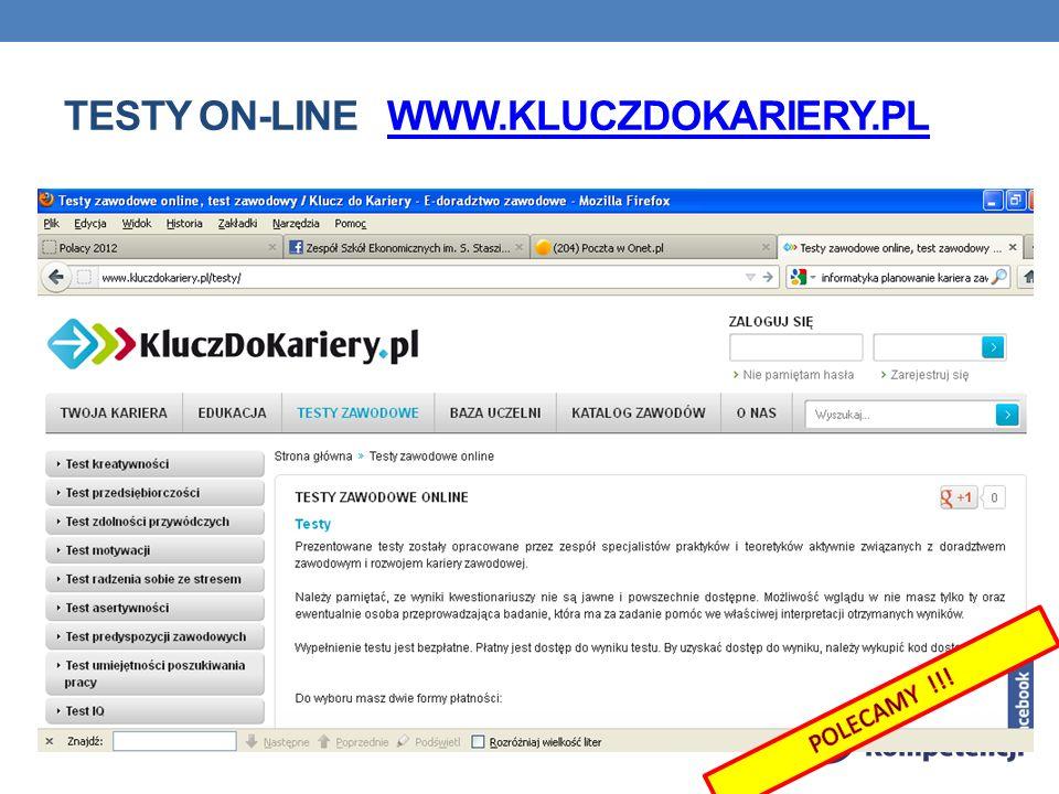 TESTY ON-LINE WWW.KLUCZDOKARIERY.PLWWW.KLUCZDOKARIERY.PL