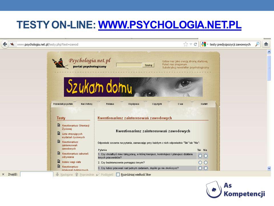 TESTY ON-LINE: WWW.PSYCHOLOGIA.NET.PLWWW.PSYCHOLOGIA.NET.PL