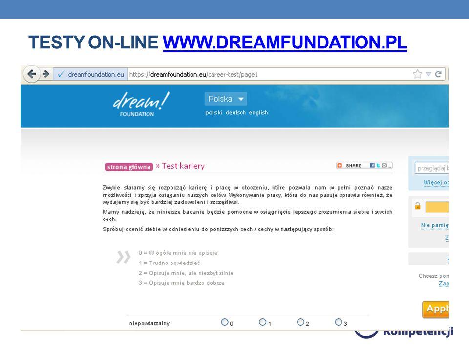 TESTY ON-LINE WWW.DREAMFUNDATION.PLWWW.DREAMFUNDATION.PL