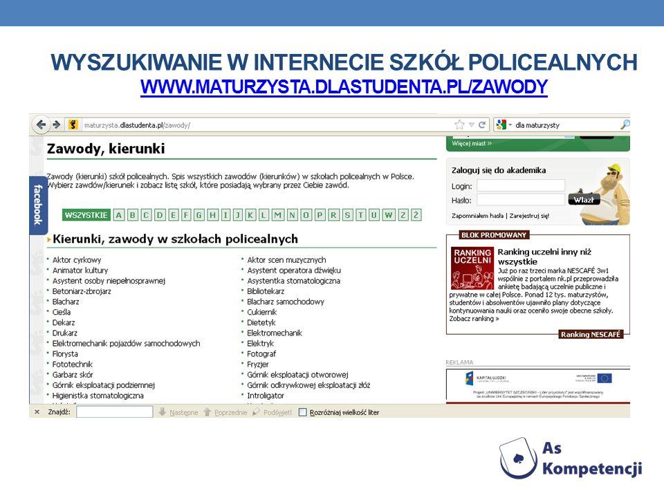 WYSZUKIWANIE W INTERNECIE SZKÓŁ POLICEALNYCH WWW.MATURZYSTA.DLASTUDENTA.PL/ZAWODY WWW.MATURZYSTA.DLASTUDENTA.PL/ZAWODY