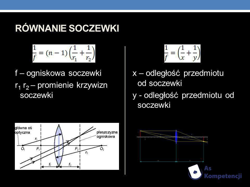 RÓWNANIE SOCZEWKI f – ogniskowa soczewki r 1 r 2 – promienie krzywizn soczewki x – odległość przedmiotu od soczewki y - odległość przedmiotu od soczew