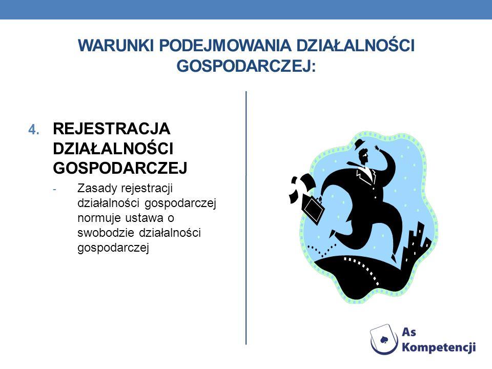 WARUNKI PODEJMOWANIA DZIAŁALNOŚCI GOSPODARCZEJ: 4. REJESTRACJA DZIAŁALNOŚCI GOSPODARCZEJ - Zasady rejestracji działalności gospodarczej normuje ustawa