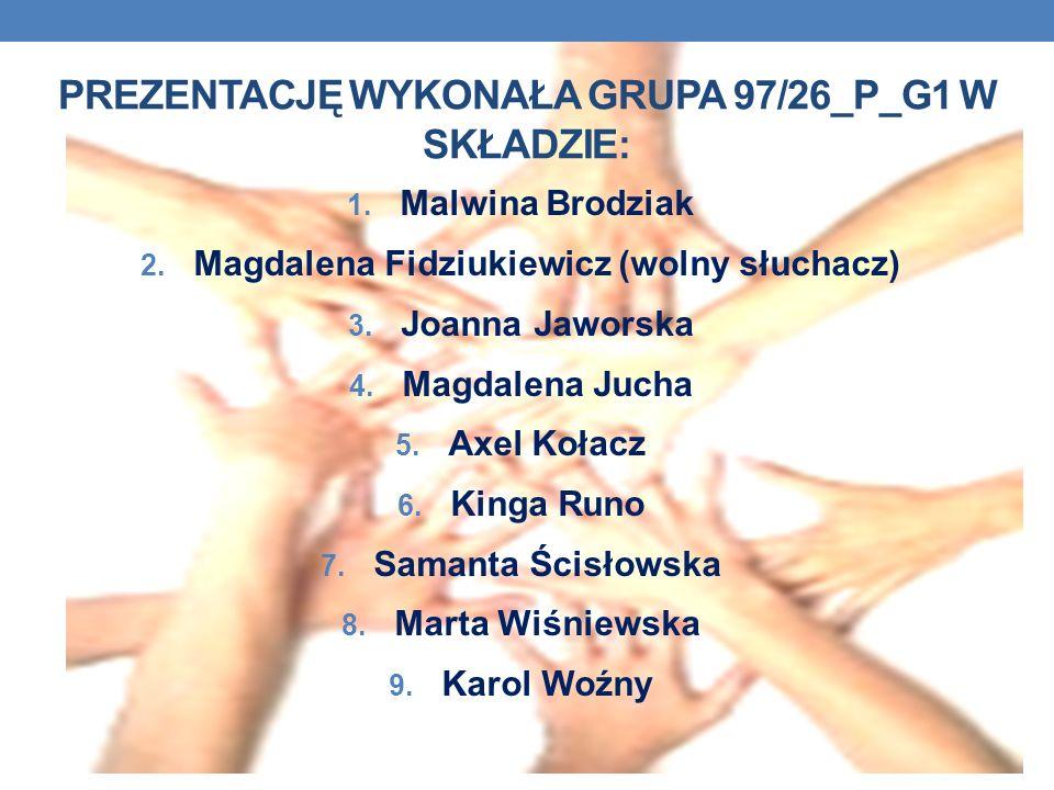 PREZENTACJĘ WYKONAŁA GRUPA 97/26_P_G1 W SKŁADZIE: 1. Malwina Brodziak 2. Magdalena Fidziukiewicz (wolny słuchacz) 3. Joanna Jaworska 4. Magdalena Juch