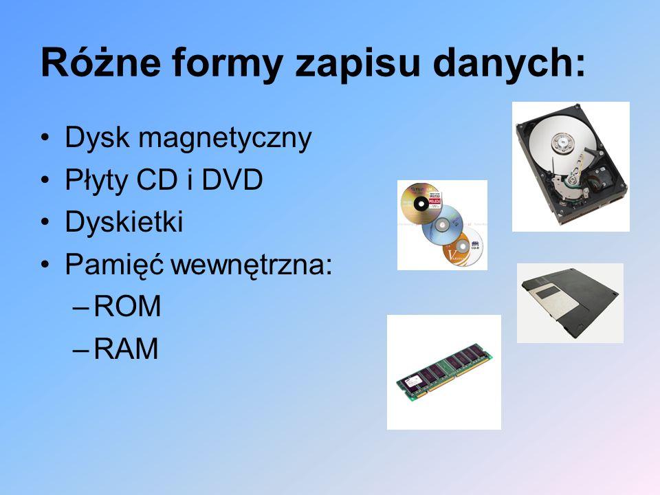 Różne formy zapisu danych: Dysk magnetyczny Płyty CD i DVD Dyskietki Pamięć wewnętrzna: –ROM –RAM