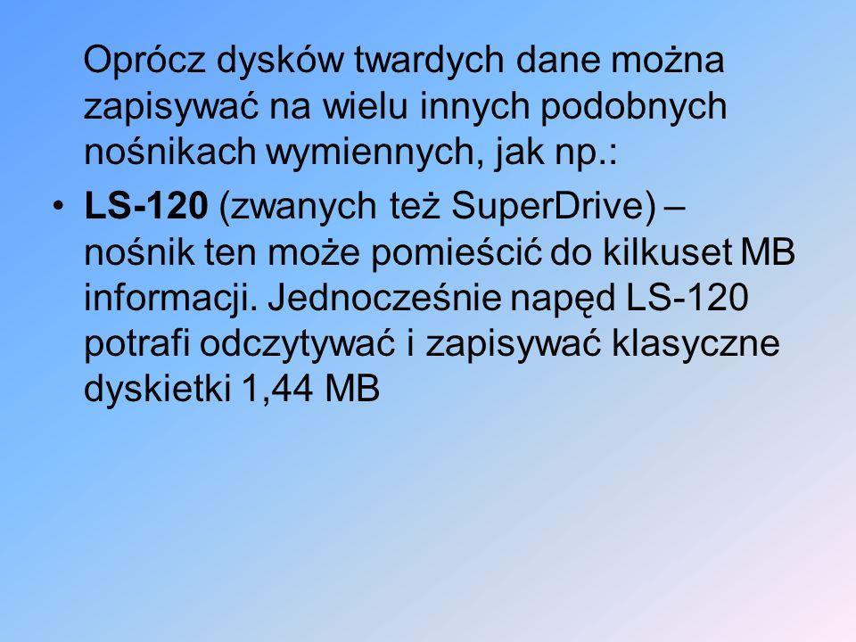 Oprócz dysków twardych dane można zapisywać na wielu innych podobnych nośnikach wymiennych, jak np.: LS-120 (zwanych też SuperDrive) – nośnik ten może