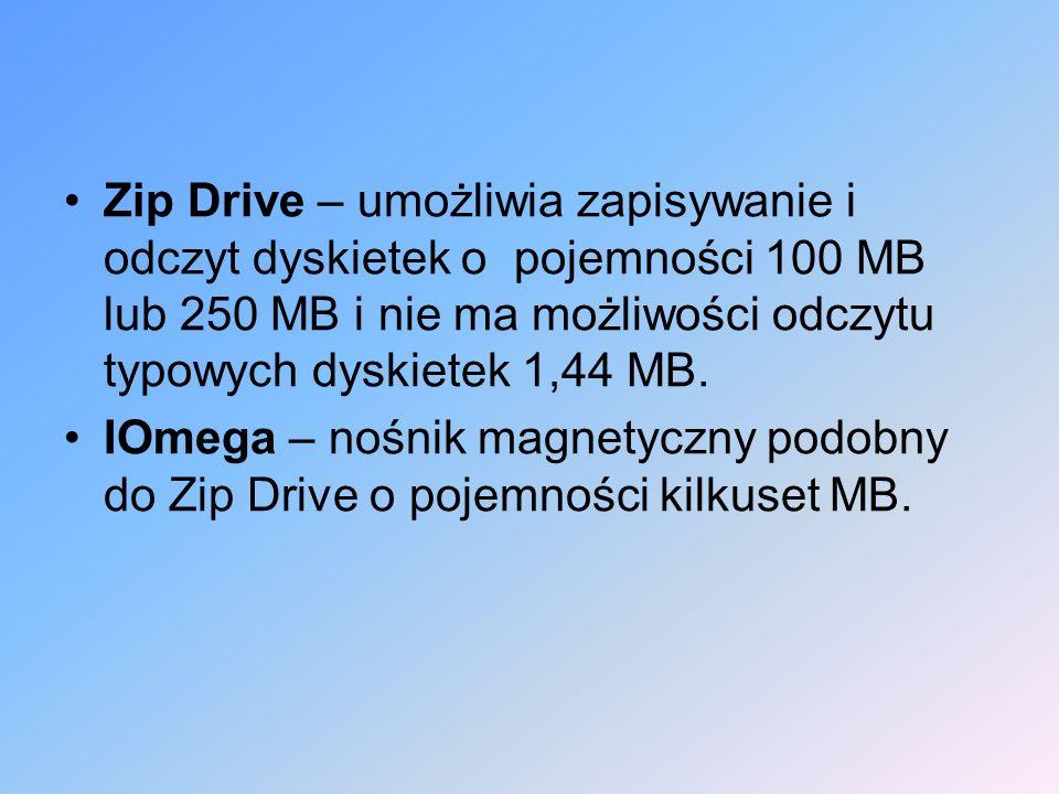 Zip Drive – umożliwia zapisywanie i odczyt dyskietek o pojemności 100 MB lub 250 MB i nie ma możliwości odczytu typowych dyskietek 1,44 MB. IOmega – n