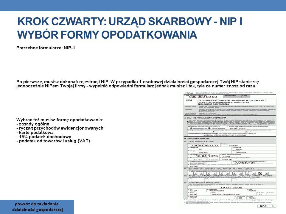 Potrzebne formularze: NIP-1 Po pierwsze, musisz dokonać rejestracji NIP. W przypadku 1-osobowej działalności gospodarczej Twój NIP stanie się jednocze