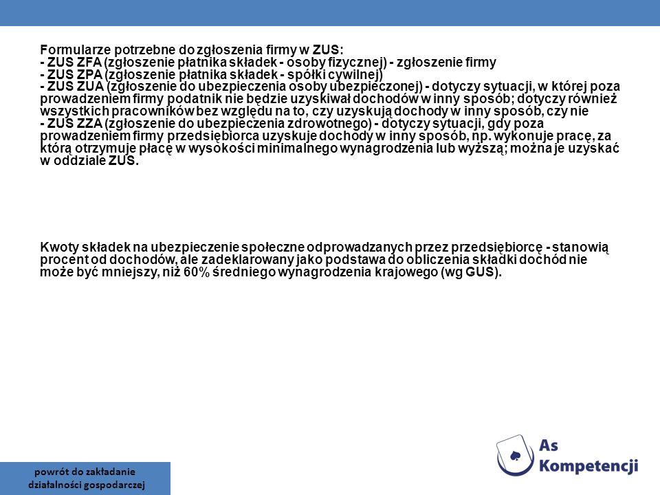 Formularze potrzebne do zgłoszenia firmy w ZUS: - ZUS ZFA (zgłoszenie płatnika składek - osoby fizycznej) - zgłoszenie firmy - ZUS ZPA (zgłoszenie pła