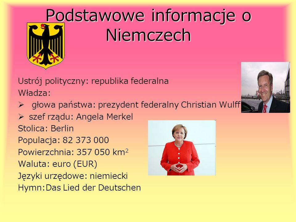 Podstawowe informacje o Niemczech Ustrój polityczny: republika federalna Władza: głowa państwa: prezydent federalny Christian Wulff szef rządu: Angela