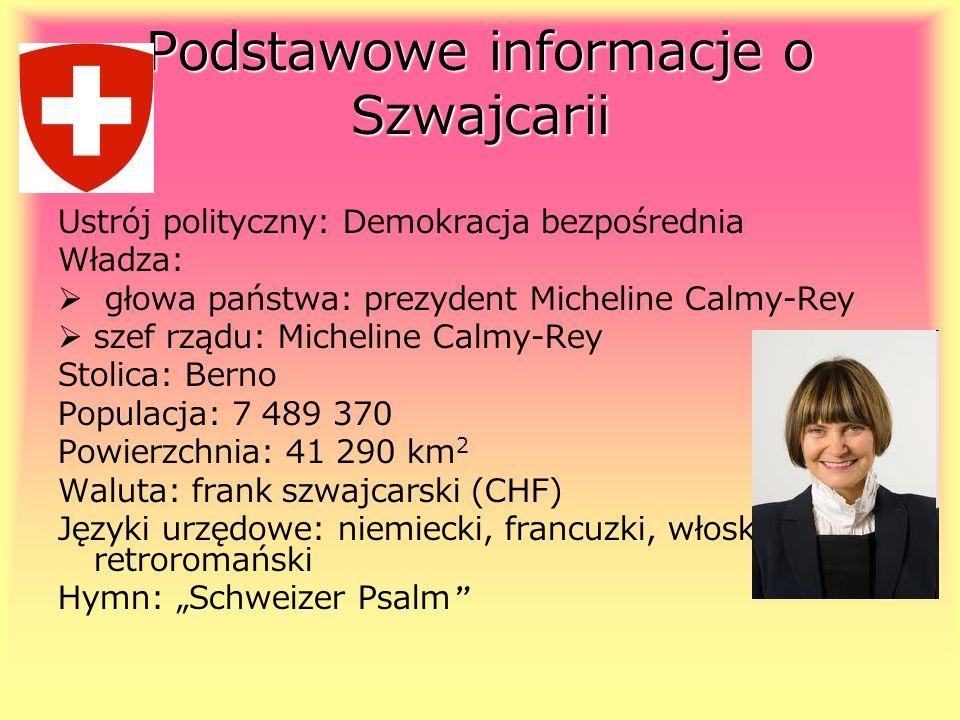 Podstawowe informacje o Szwajcarii Ustrój polityczny: Demokracja bezpośrednia Władza: głowa państwa: prezydent Micheline Calmy-Rey szef rządu: Micheli