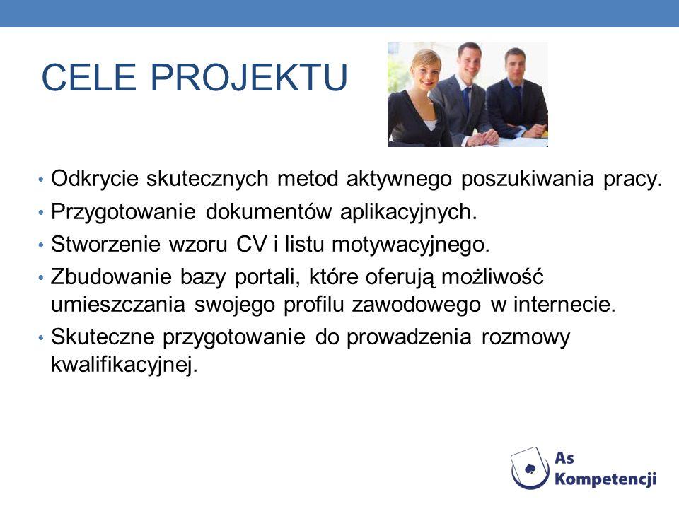 CELE PROJEKTU Odkrycie skutecznych metod aktywnego poszukiwania pracy. Przygotowanie dokumentów aplikacyjnych. Stworzenie wzoru CV i listu motywacyjne