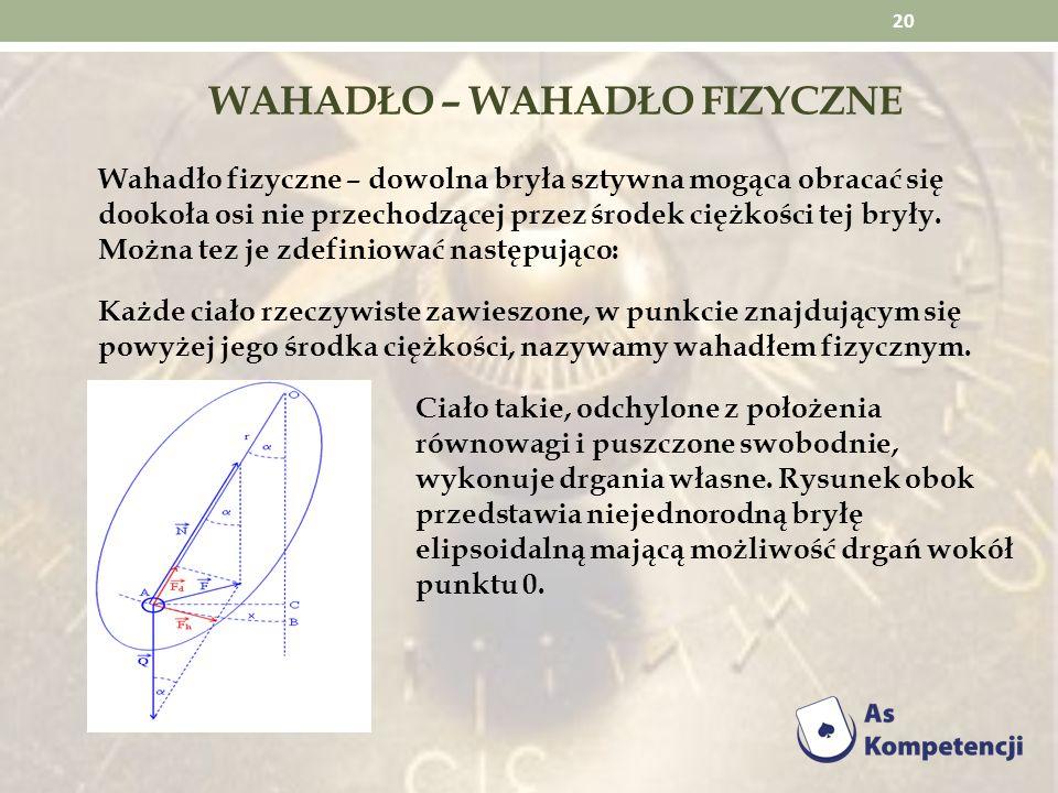WAHADŁO – WAHADŁO FIZYCZNE Wahadło fizyczne – dowolna bryła sztywna mogąca obracać się dookoła osi nie przechodzącej przez środek ciężkości tej bryły.