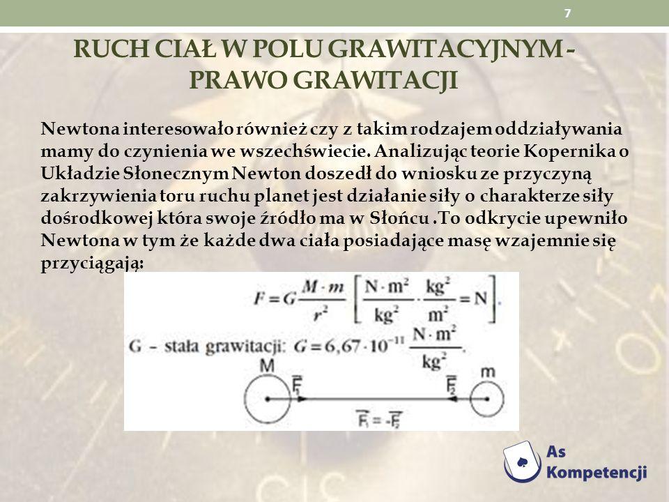 RUCH CIAŁ W POLU GRAWITACYJNYM - PRAWO GRAWITACJI Newtona interesowało również czy z takim rodzajem oddziaływania mamy do czynienia we wszechświecie.