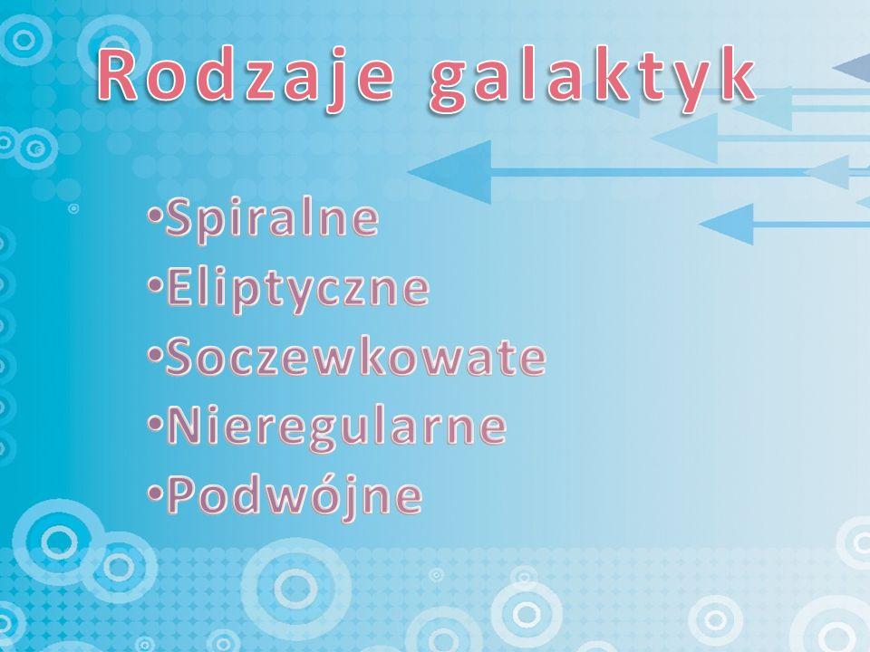 Galaktyki spiralne jak sama nazwa wskazuje, mają one spiralny kształt, który tworzą 2 lub 3 ramiona wokół gęstego jądra.
