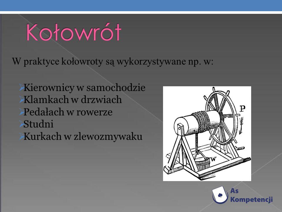 W praktyce kołowroty są wykorzystywane np.