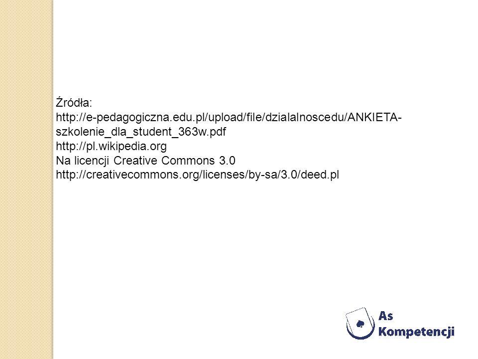 Źródła: http://e-pedagogiczna.edu.pl/upload/file/dzialalnoscedu/ANKIETA- szkolenie_dla_student_363w.pdf http://pl.wikipedia.org Na licencji Creative C