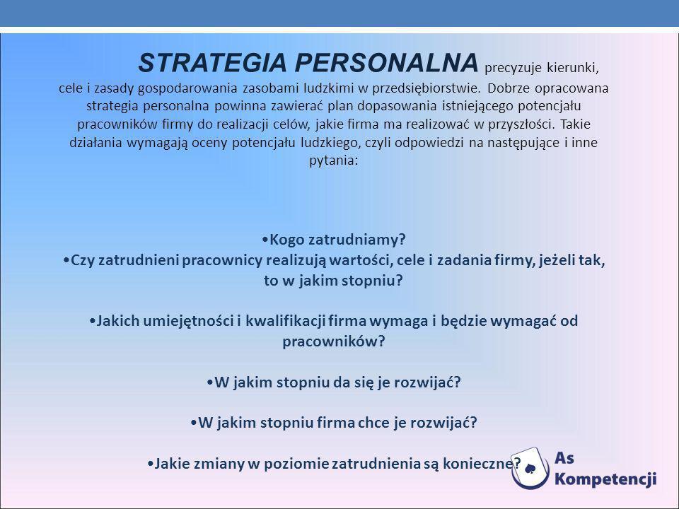STRATEGIA PERSONALNA precyzuje kierunki, cele i zasady gospodarowania zasobami ludzkimi w przedsiębiorstwie.