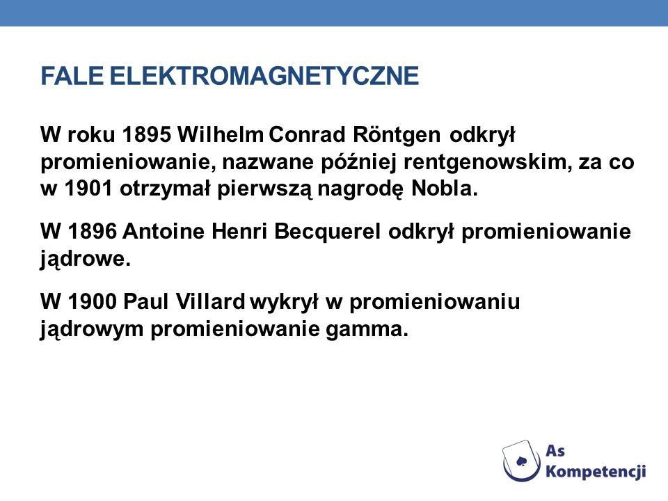 FALE ELEKTROMAGNETYCZNE James Clerk Maxwell w roku 1861 zebrał prawa elektrodynamiki w cztery równania, które opisują również falę elektromagnetyczną.