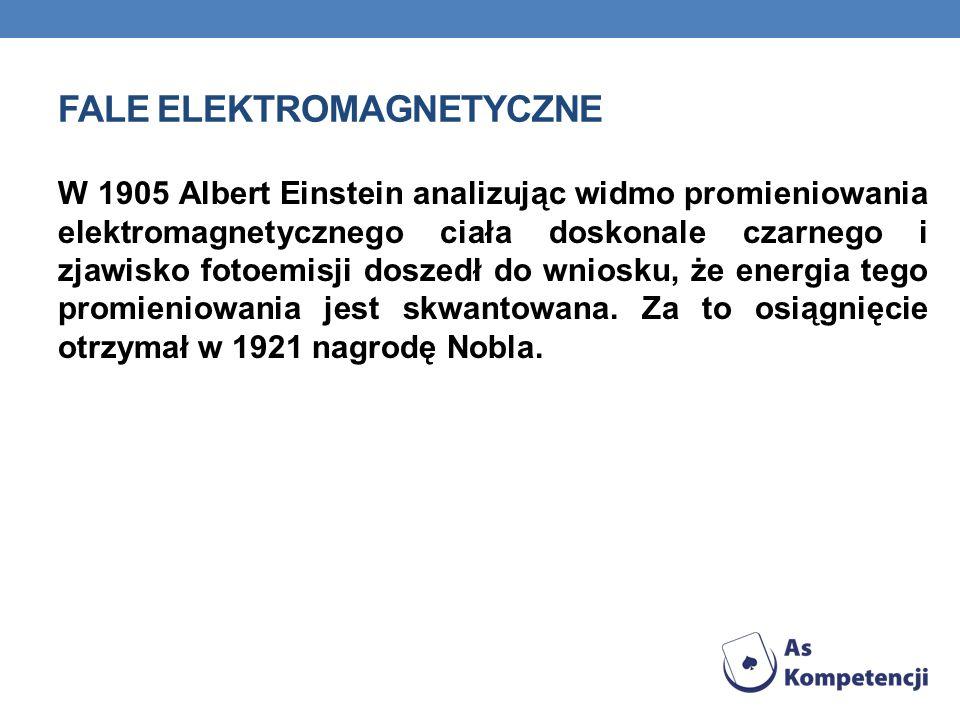 FALE ELEKTROMAGNETYCZNE W roku 1895 Wilhelm Conrad Röntgen odkrył promieniowanie, nazwane później rentgenowskim, za co w 1901 otrzymał pierwszą nagrod