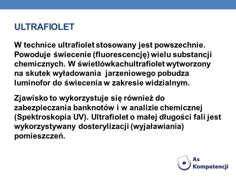 ULTRAFIOLET Promieniowanie ultrafioletowe, jest zaliczane do promieniowania jonizującego, czyli ma zdolność odrywania elektronów od atomów i cząstecze