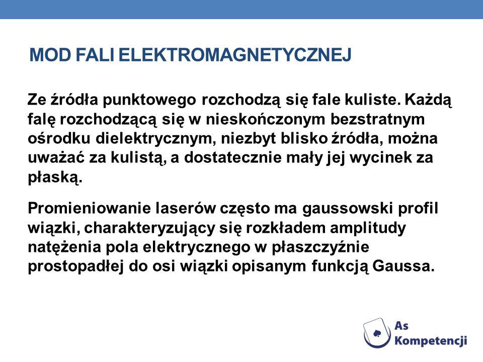 MOD FALI ELEKTROMAGNETYCZNEJ Płaska fala elektromagnetyczna rozchodząc się w próżni w nieograniczonym obszarze jest falą poprzeczną, w której składowa