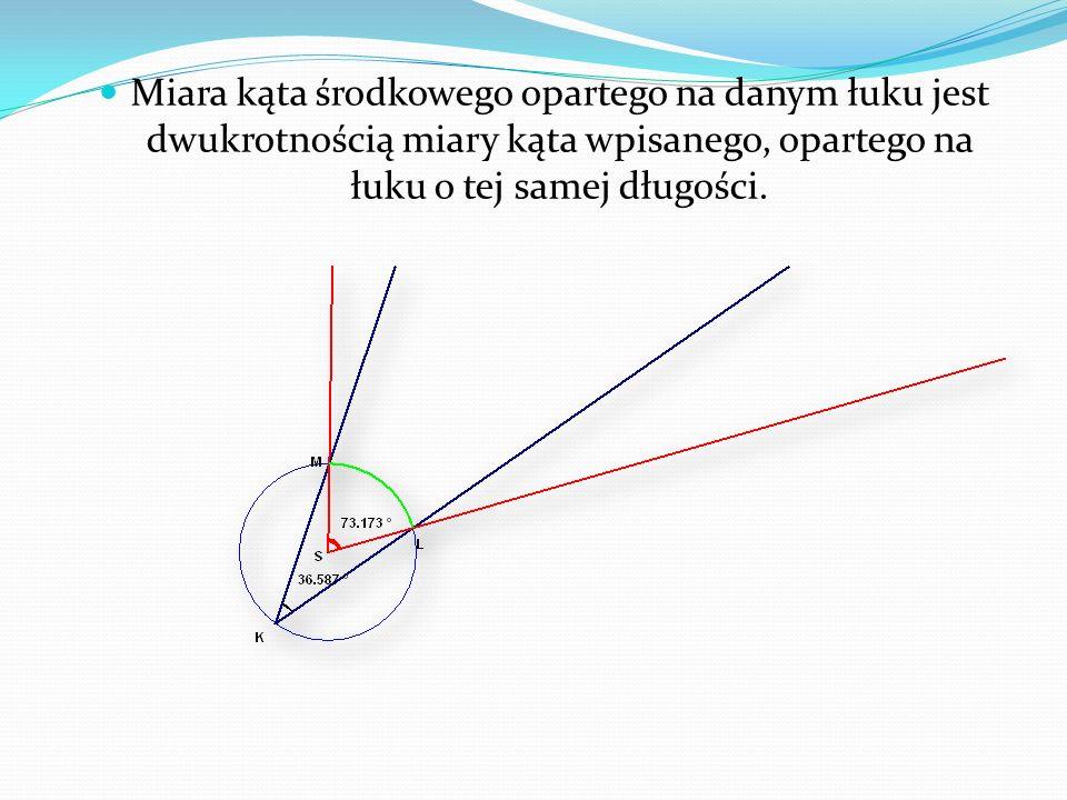 Miara kąta środkowego opartego na danym łuku jest dwukrotnością miary kąta wpisanego, opartego na łuku o tej samej długości.