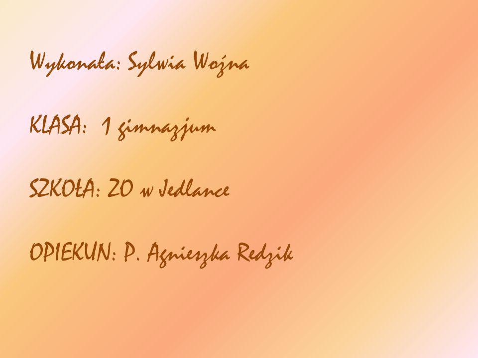 Wykonała: Sylwia Woźna KLASA: 1 gimnazjum SZKOŁA: ZO w Jedlance OPIEKUN: P. Agnieszka Redzik