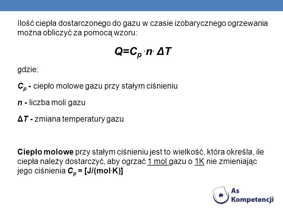 Ilość ciepła dostarczonego do gazu w czasie izobarycznego ogrzewania można obliczyć za pomocą wzoru: Q=C p. n. ΔT gdzie: C p - ciepło molowe gazu przy