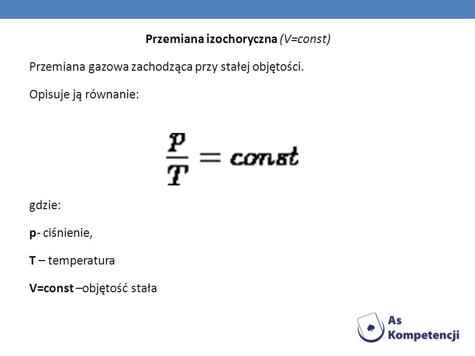 Przemiana izochoryczna (V=const) Przemiana gazowa zachodząca przy stałej objętości. Opisuje ją równanie: gdzie: p- ciśnienie, T – temperatura V=const