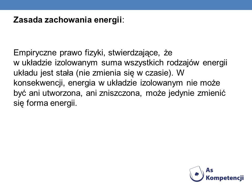 Zasada zachowania energii: Empiryczne prawo fizyki, stwierdzające, że w układzie izolowanym suma wszystkich rodzajów energii układu jest stała (nie zm