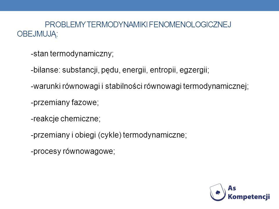 PROBLEMY TERMODYNAMIKI FENOMENOLOGICZNEJ OBEJMUJĄ: -stan termodynamiczny; -bilanse: substancji, pędu, energii, entropii, egzergii; -warunki równowagi