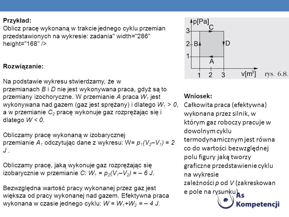 I zasada termodynamiki dla przemiany izochorycznej przybiera postać: ΔU = Q W przemianie izochorycznej objętość nie ulega zmianie, więc gaz nie wykona pracy.