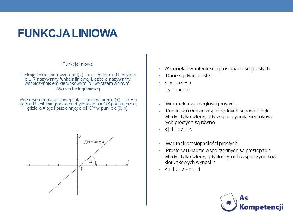 FUNKCJA LINIOWA Funkcja liniowa Funkcję f określoną wzorem f(x) = ax + b dla x R, gdzie a, b R nazywamy funkcją liniową. Liczbę a nazywamy współczynni