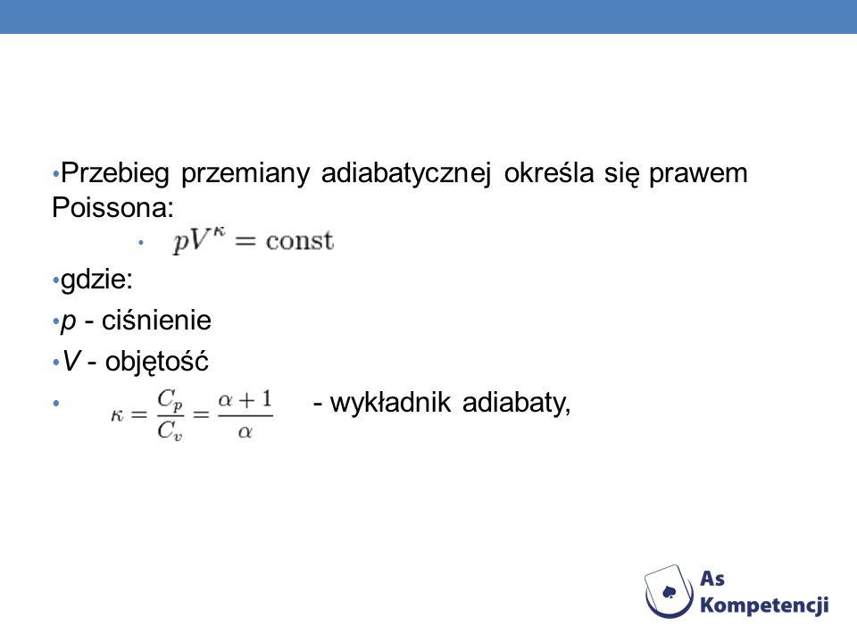 Przebieg przemiany adiabatycznej określa się prawem Poissona: gdzie: p - ciśnienie V - objętość - wykładnik adiabaty,