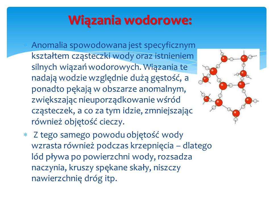 Wiązania wodorowe: Anomalia spowodowana jest specyficznym kształtem cząsteczki wody oraz istnieniem silnych wiązań wodorowych. Wiązania te nadają wodz