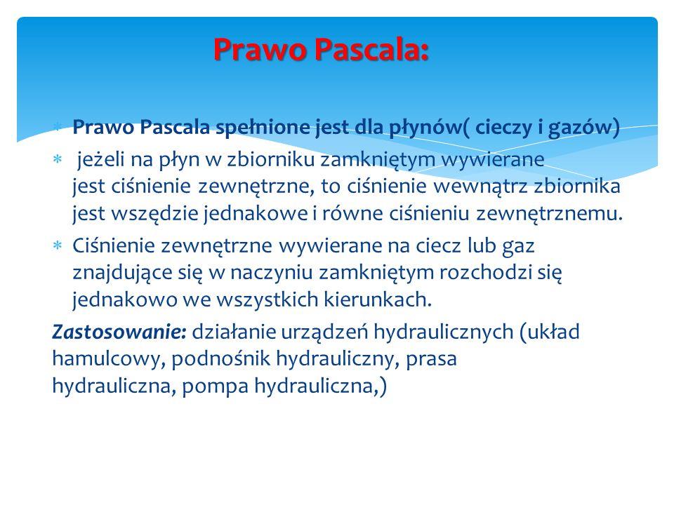 Prawo Pascala: Prawo Pascala spełnione jest dla płynów( cieczy i gazów) jeżeli na płyn w zbiorniku zamkniętym wywierane jest ciśnienie zewnętrzne, to