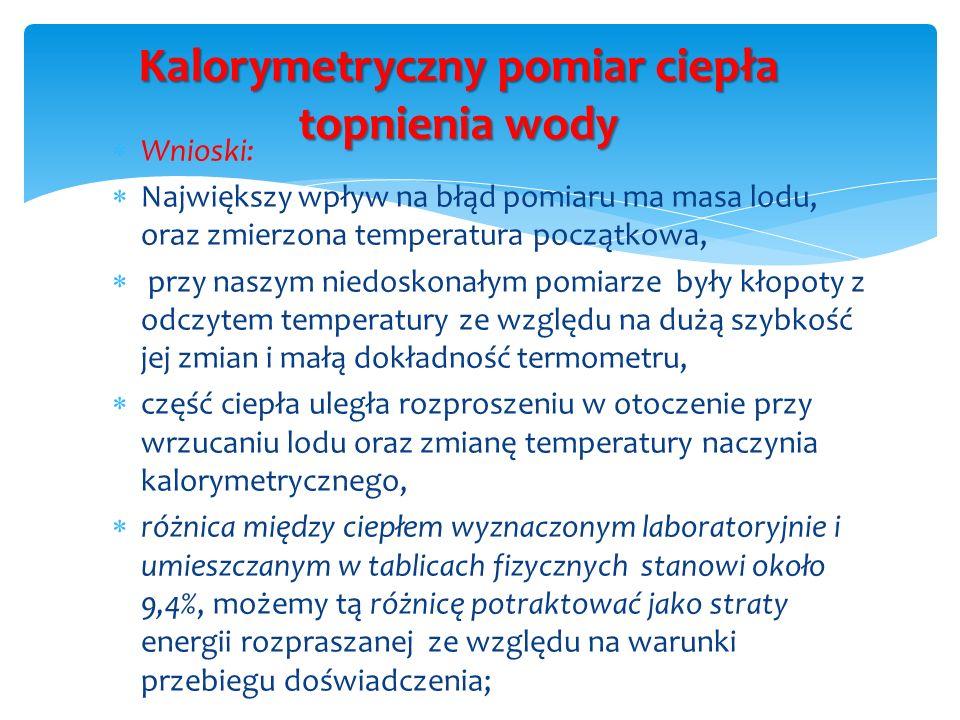 Kalorymetryczny pomiar ciepła topnienia wody Wnioski: Największy wpływ na błąd pomiaru ma masa lodu, oraz zmierzona temperatura początkowa, przy naszy