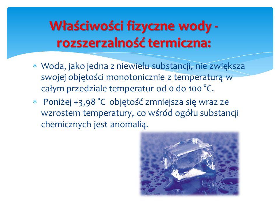 Właściwości fizyczne wody - rozszerzalność termiczna: Woda, jako jedna z niewielu substancji, nie zwiększa swojej objętości monotonicznie z temperatur