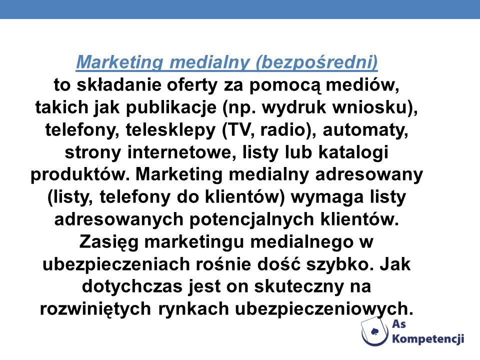 Marketing medialny (bezpośredni) to składanie oferty za pomocą mediów, takich jak publikacje (np. wydruk wniosku), telefony, telesklepy (TV, radio), a